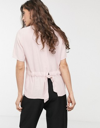 Selected Tannia ruched waist t-shirt