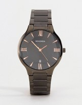 Sekonda Black Bracelet Watch With Rose Gold/Black Dial Exclusive To ASOS