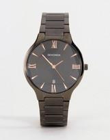 Sekonda Black Bracelet Watch With Rose Gold/black Dial Exclusive To Asos