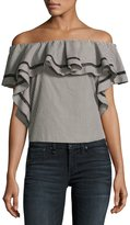 Rachel Zoe Molly Off-The-Shoulder Striped Ruffle Top, Black/White