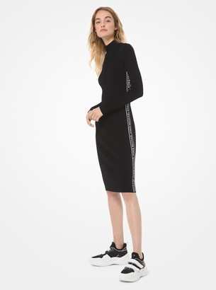 MICHAEL Michael Kors Logo Tape Ribbed Knit Zip Dress