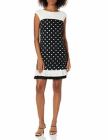 Thumbnail for your product : Sandra Darren Women's 1 PC Extended Shoulder Printed Dot Crepe Sheath Dress