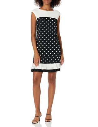 Sandra Darren Women's 1 PC Extended Shoulder Printed Dot Crepe Sheath Dress