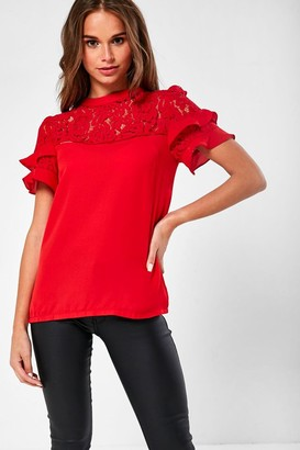 Iclothing iClothing Phoenix Crochet Top Blouse in Red