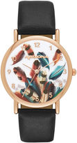 Arizona Womens Rose Gold Tone Feather Dial Black Strap Watch