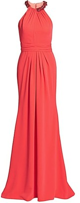 Theia Halter Crepe Gown