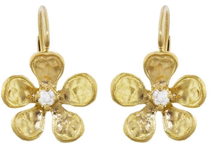 Cathy Waterman Hammered Diamond Violet Earrings