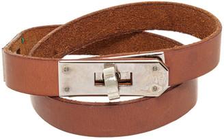 Hermes Palladium Brown Leather Kelly Bracelet