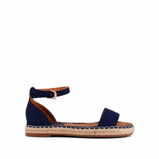 Shushop Carly Womens Fashion Open Toe Ankle Strap Espadrilles Flats Sandals Navy 6.5