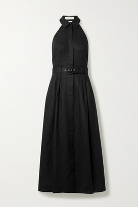 Zimmermann Bonita Belted Linen Halterneck Midi Dress - Black
