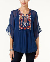 Style&Co. Style & Co Embroidered Sheer Top, Only at Macy's