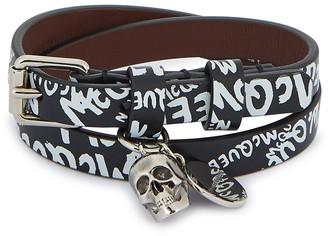 Alexander McQueen Black logo-print leather bracelet