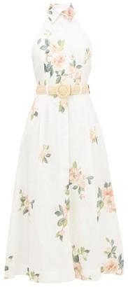 Zimmermann Kirra Halterneck Floral-print Linen Dress - White Print