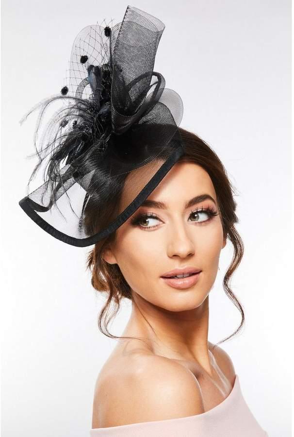 Quiz Black Large Flower Polkadot Headband Fascinator