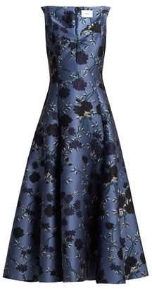 Erdem Verna Rose-jacquard Gown - Womens - Blue Multi