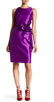 Carmen Marc Valvo Ruffle Front Twill Cocktail Dress