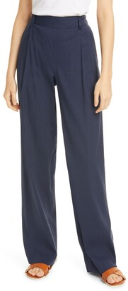 Vince Pleat Front Pull-On Linen Blend Trousers