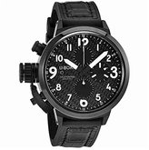 U-Boat Black Dial Black Leather and Rubber Strap Mens Watch UB7116