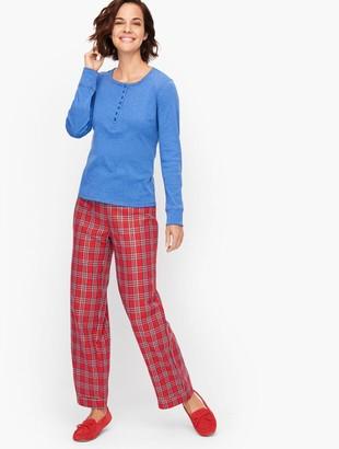 Talbots Flannel Bottoms Pajama Set - Candle Plaid