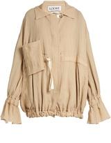 Loewe Ruffled-cuff crinkled cotton-blend jacket