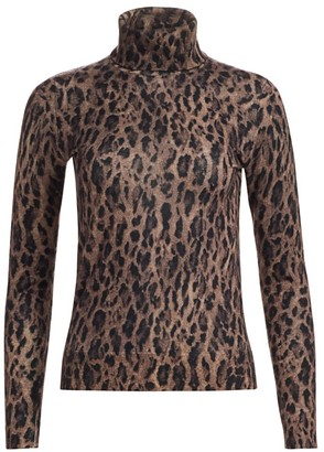 Saks Fifth Avenue COLLECTION Leopard-Print Cashmere Turtleneck Sweater