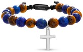 Lapis Stainless Steel Tiger Eye & Beads W/ Cross Bracelet