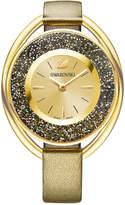 Swarovski Women's Swiss Crystalline Oval Bronze Leather Strap Watch 37mm