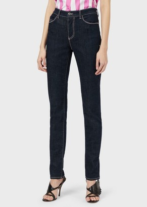 Emporio Armani J18 Slim-Fit, Comfort-Denim Jeans With Embroidered Eagle