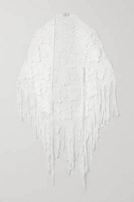 Miguelina Majandra Fringed Crocheted Cotton Shawl - White