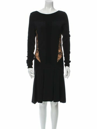 Elie Saab Bateau Neckline Knee-Length Dress Black