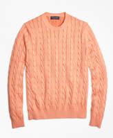Brooks Brothers Supima® Cotton Cable Knit Crewneck Sweater