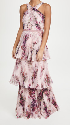 Marchesa Halter 3-Tiered Gown with Self-Belt