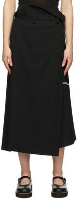 Y's Ys Black Double Belt Wrap Skirt