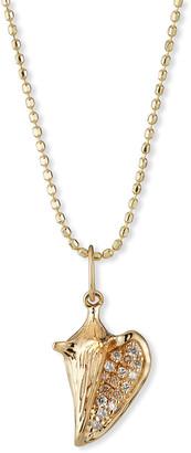 Sydney Evan 14k Diamond Pave Conch Shell Charm Necklace