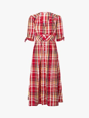 Monsoon Nila Check Print Flared Midi Dress, Red/Multi