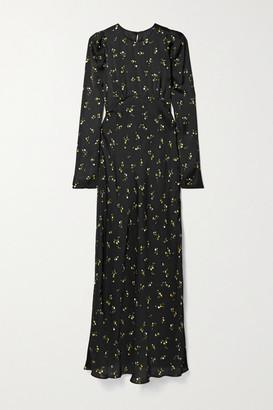 Les Rêveries Floral-print Satin Maxi Dress - Black