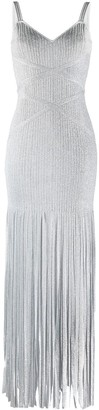 Herve Leger Long Fringed Bandage Dress