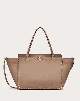 Valentino Garavani Medium Rockstud Grainy Calfskin Bag Women Poudre Calfskin 100% OneSize