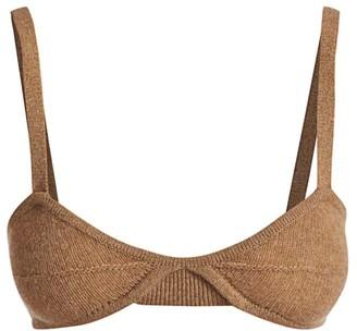 KHAITE Eda Cashmere Knit Bralette Top
