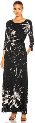 Raquel Allegra Half Sleeve Drama Maxi Dress in Black Constellation Tie Dye | FWRD