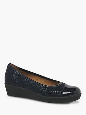 Gabor Orient Wide Fit Patent Wedge Pumps, Ocean
