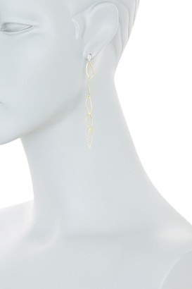 Meira T 14K Yellow Gold Pave Diamond Stud & Twisted Chain Drop Earrings