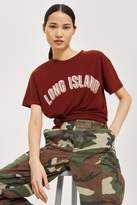 Topshop Tan 'long island' slogan t-shirt