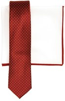 The Tie Bar Men's Dot Silk Skinny Tie & Cotton Pocket Square Style Box