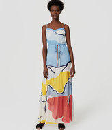 LOFT Beach Abstract Tiered Maxi Dress