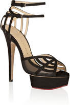 Charlotte Olympia Octavia Suede And Mesh Platform Sandals - Black