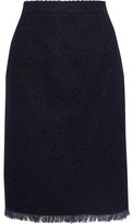 Oscar de la Renta Frayed Cotton-blend Tweed Pencil Skirt