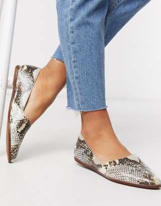 Aldo Blanchette leather flat shoes in snake print