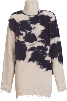 Off-White Ripped Detailing Roll Neck Jumper