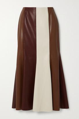 Nanushka Artem Color-block Vegan Leather Midi Skirt - Brown